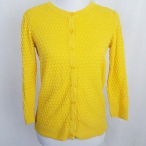 Merona Textured Cardigan Sweater Yellow Medium